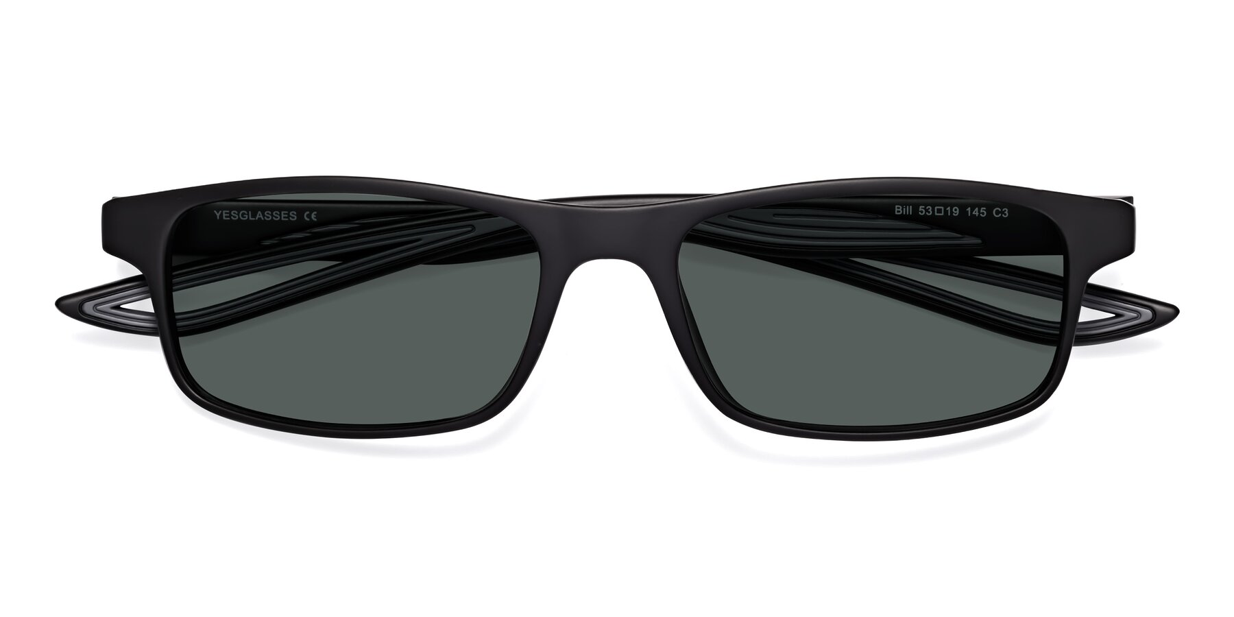Folded Front of Bill in Matte Black-Gray with Gray Polarized Lenses