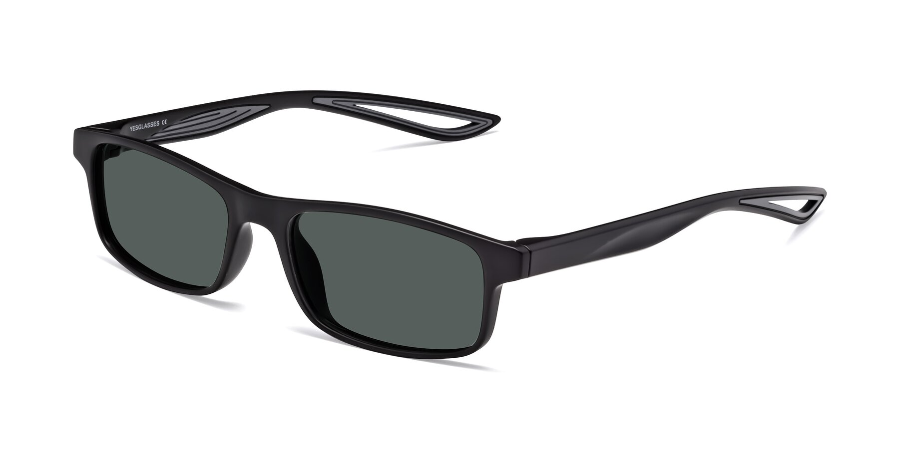 Angle of Bill in Matte Black-Gray with Gray Polarized Lenses