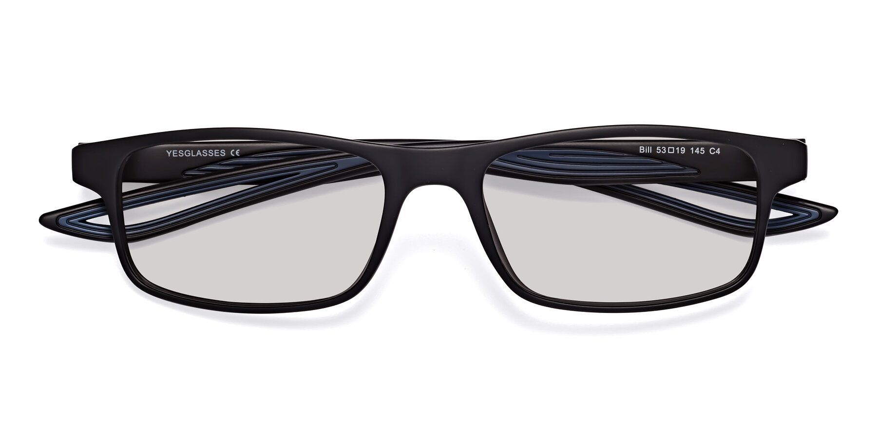 Folded Front of Bill in Matte Black-Blue with Light Gray Tinted Lenses
