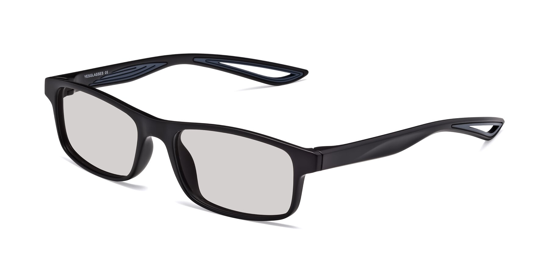 Angle of Bill in Matte Black-Blue with Light Gray Tinted Lenses
