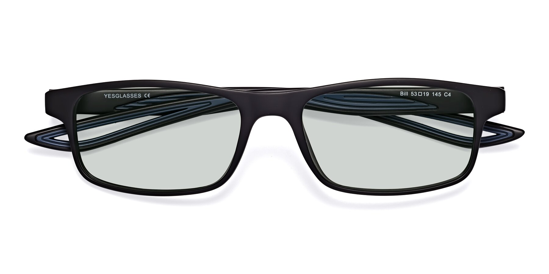 Folded Front of Bill in Matte Black-Blue with Light Green Tinted Lenses