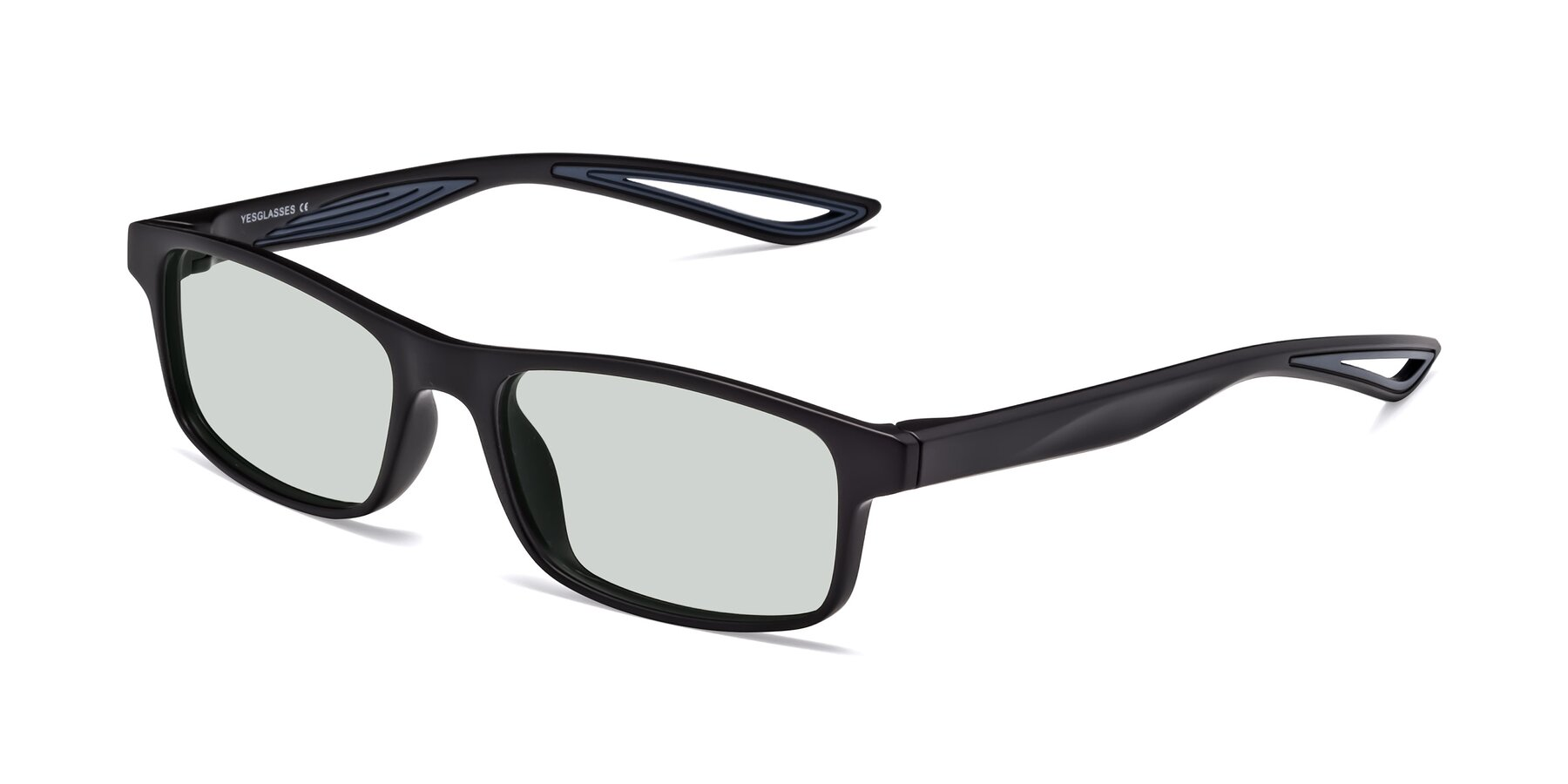 Angle of Bill in Matte Black-Blue with Light Green Tinted Lenses