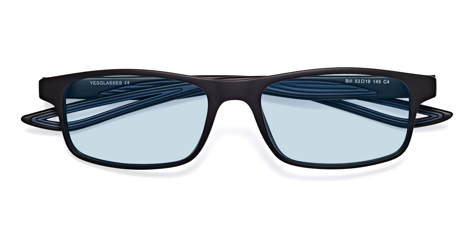 Folded Front of Bill in Matte Black-Blue with Light Blue Tinted Lenses