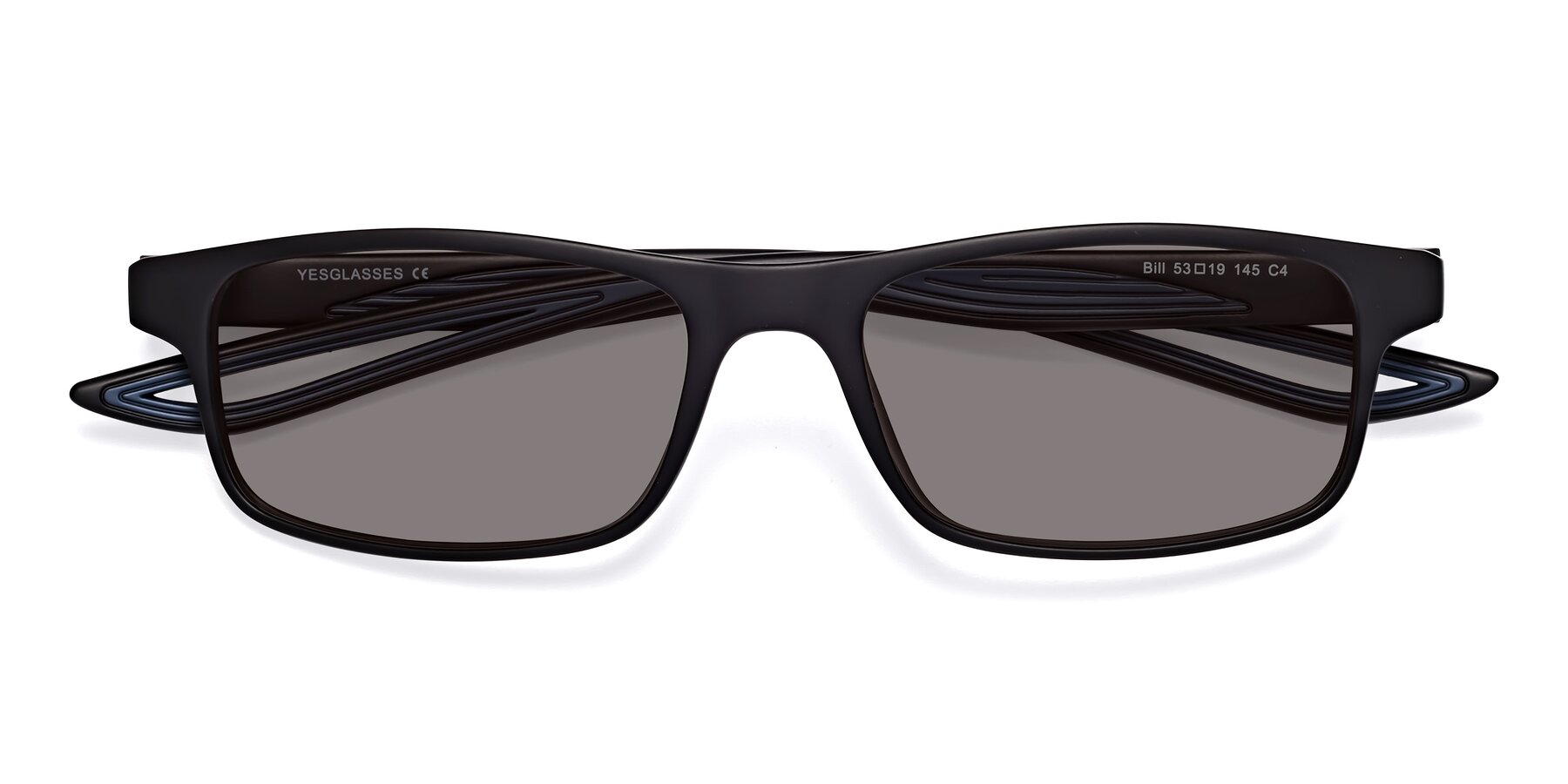 Folded Front of Bill in Matte Black-Blue with Medium Gray Tinted Lenses