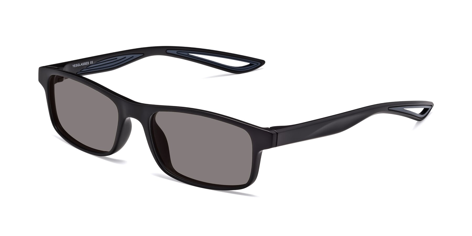 Angle of Bill in Matte Black-Blue with Medium Gray Tinted Lenses