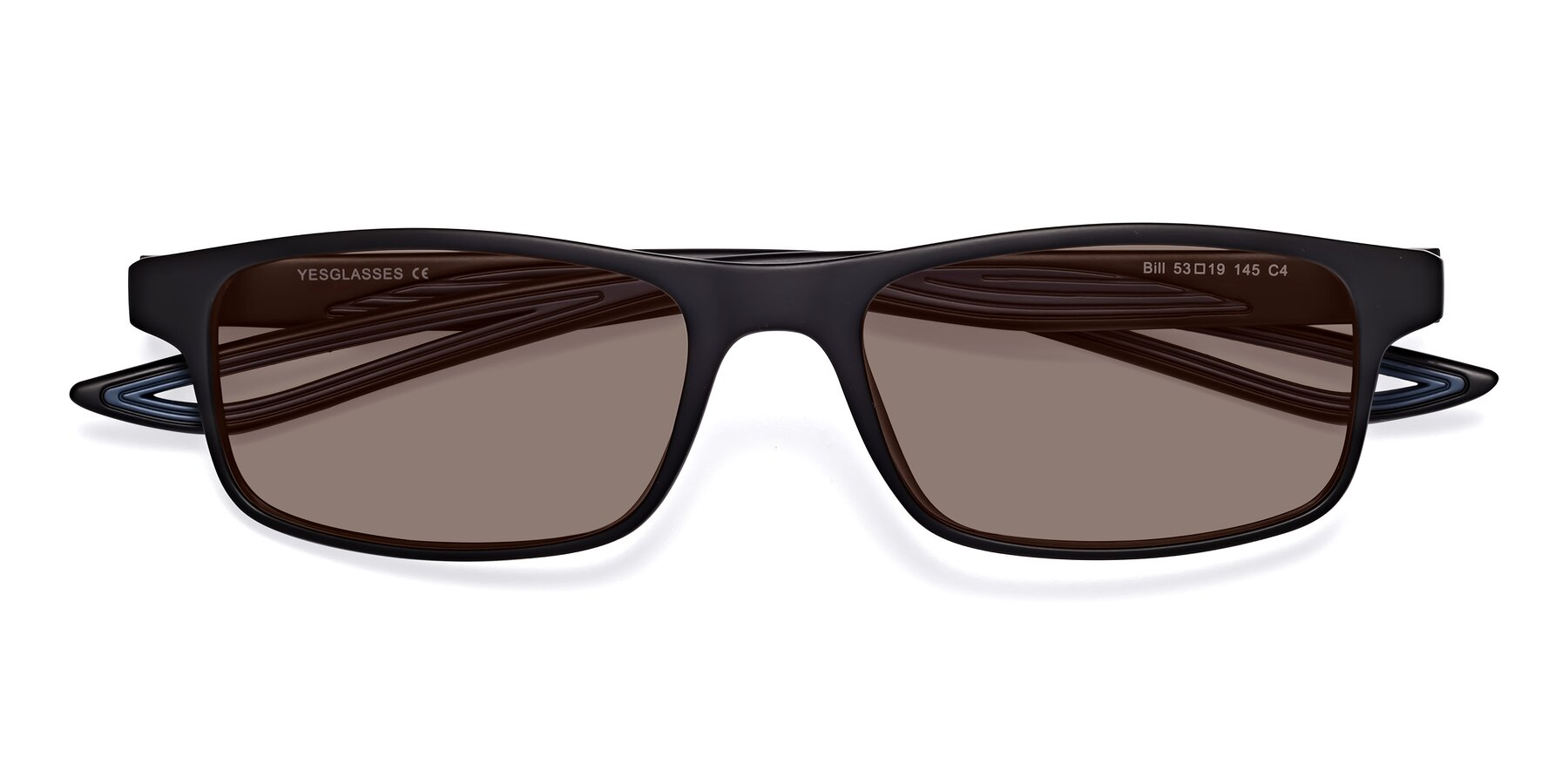Folded Front of Bill in Matte Black-Blue with Medium Brown Tinted Lenses