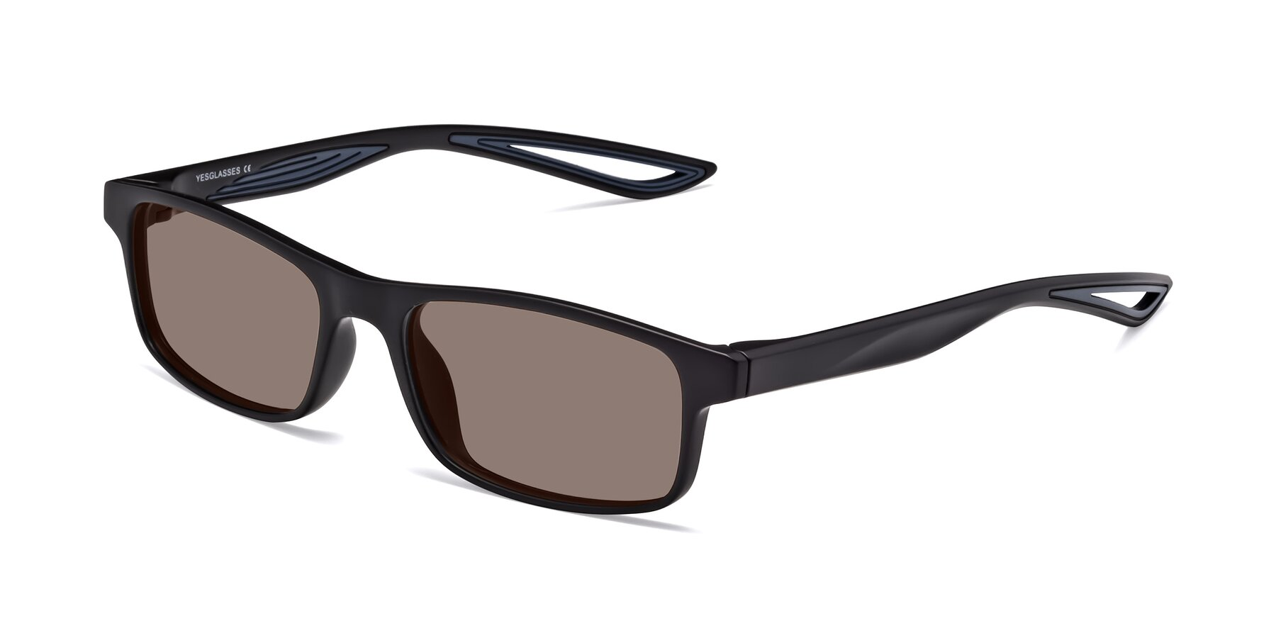 Angle of Bill in Matte Black-Blue with Medium Brown Tinted Lenses