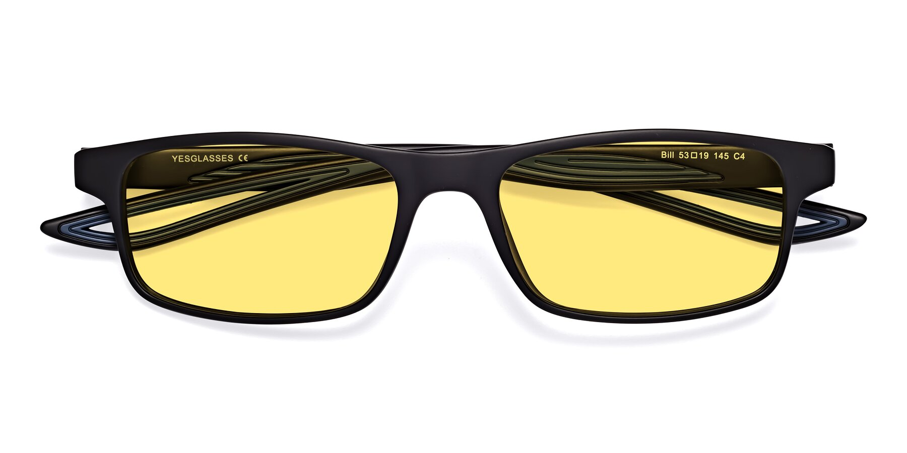 Folded Front of Bill in Matte Black-Blue with Medium Yellow Tinted Lenses