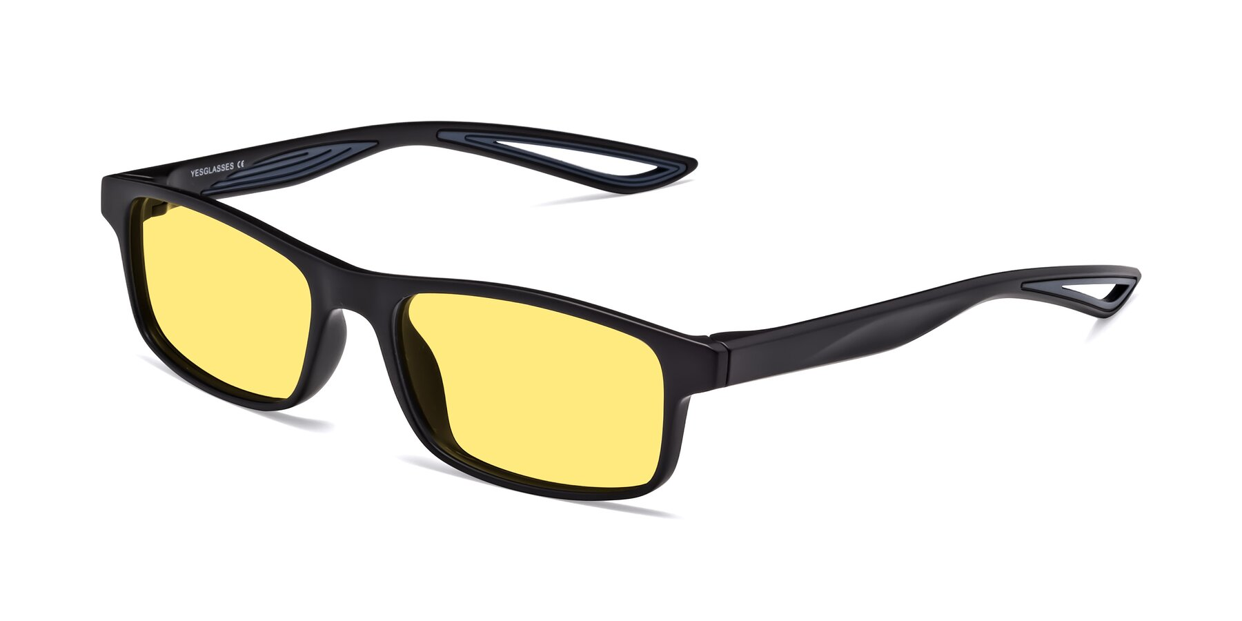 Angle of Bill in Matte Black-Blue with Medium Yellow Tinted Lenses