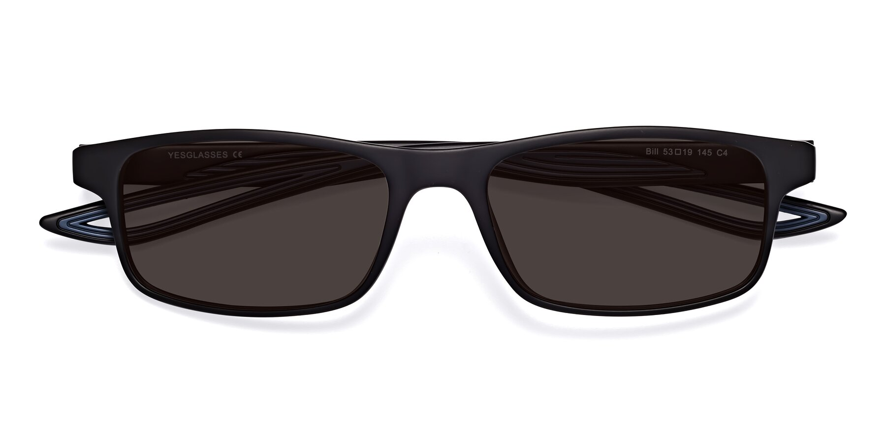 Folded Front of Bill in Matte Black-Blue with Gray Tinted Lenses