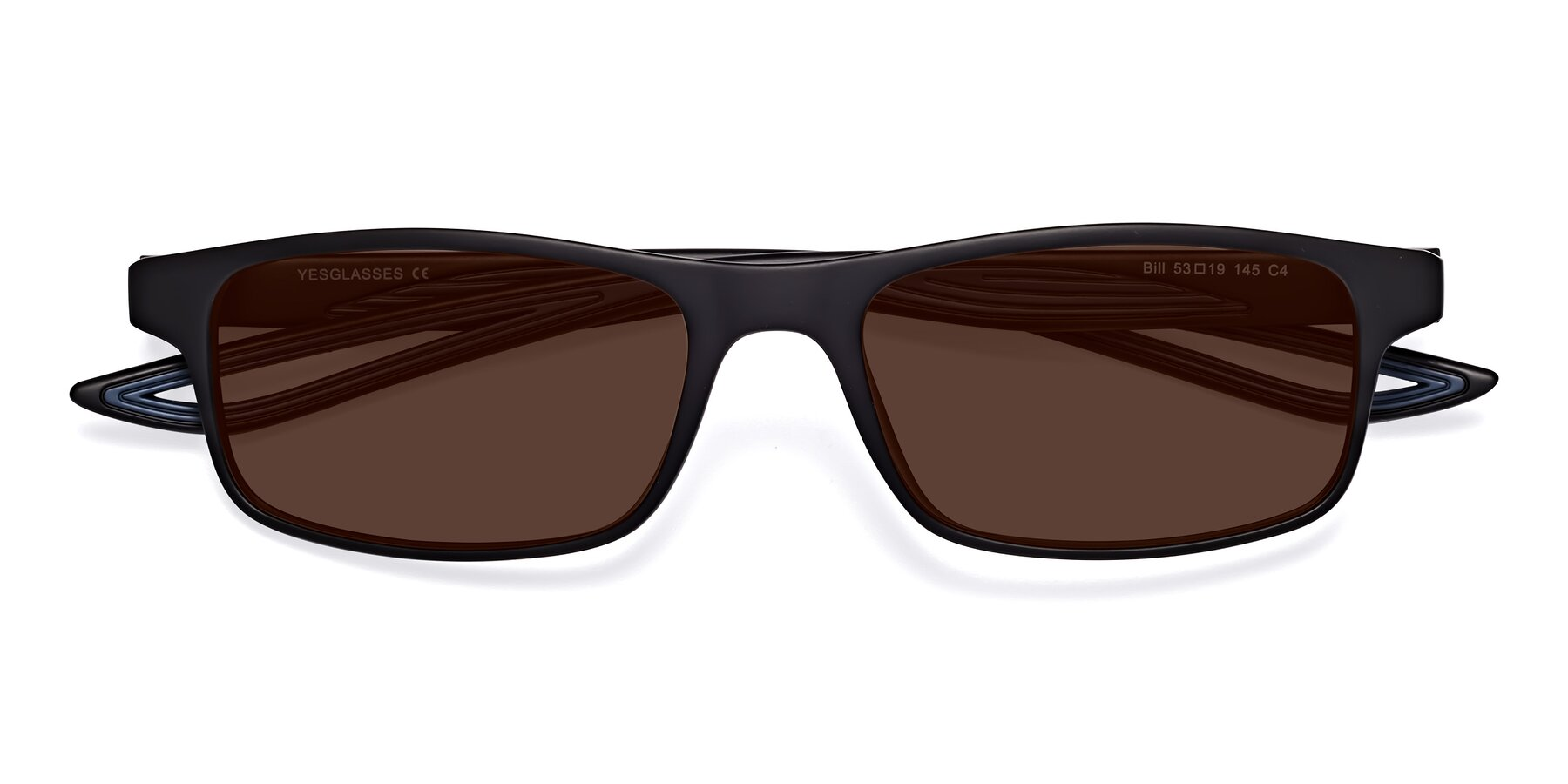 Folded Front of Bill in Matte Black-Blue with Brown Tinted Lenses