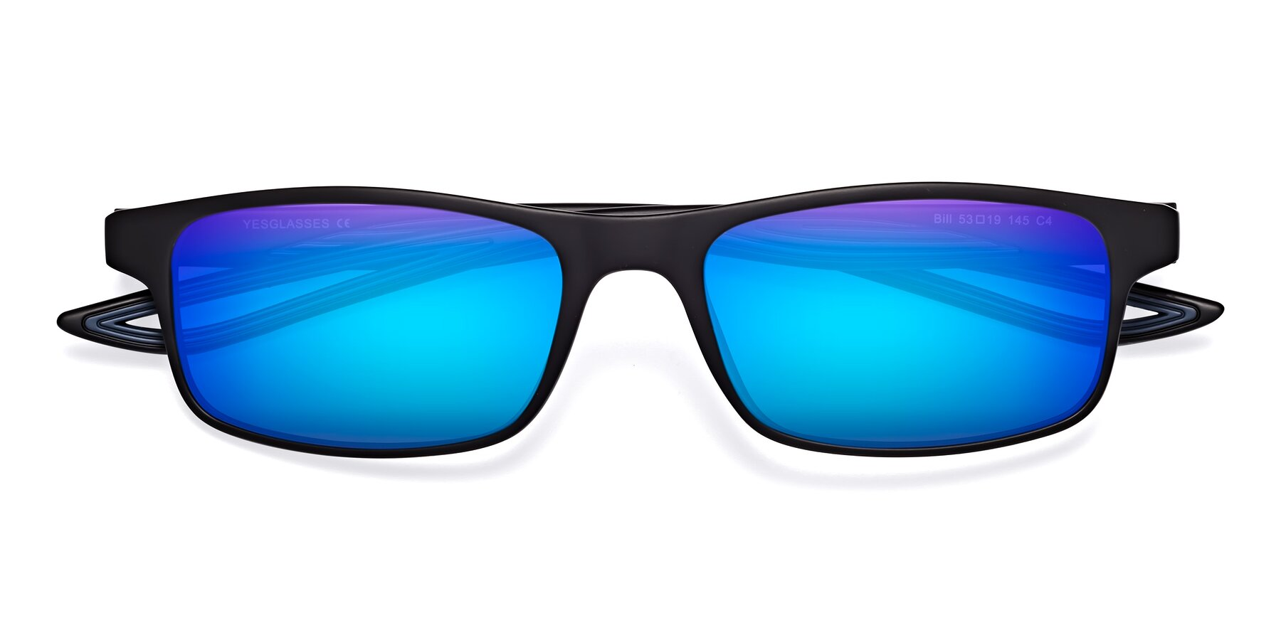 Folded Front of Bill in Matte Black-Blue with Blue Mirrored Lenses