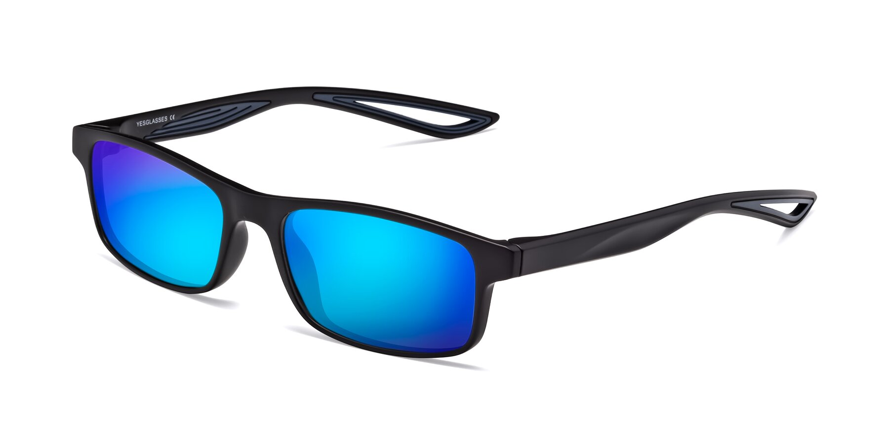 Angle of Bill in Matte Black-Blue with Blue Mirrored Lenses