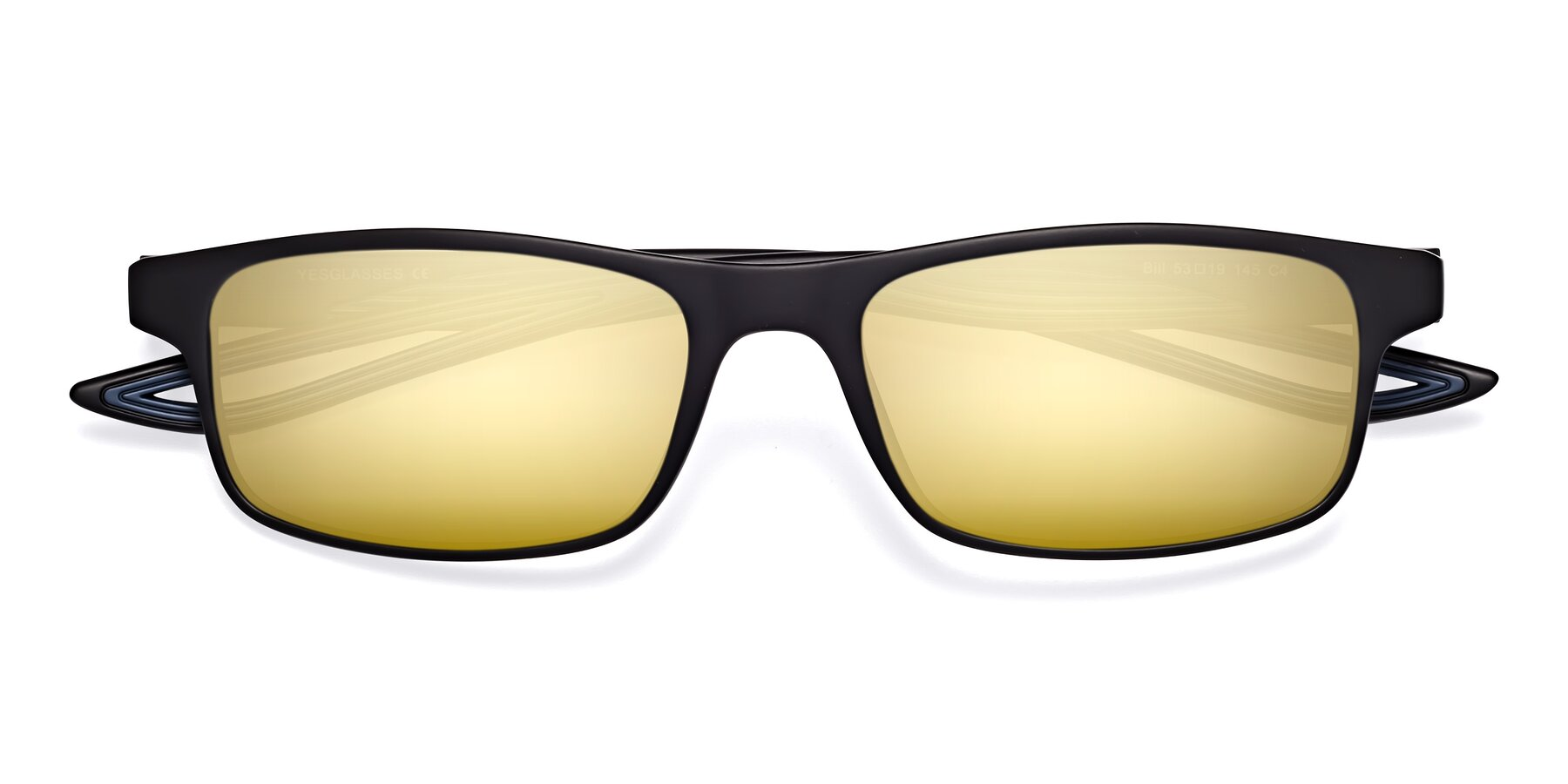 Folded Front of Bill in Matte Black-Blue with Gold Mirrored Lenses