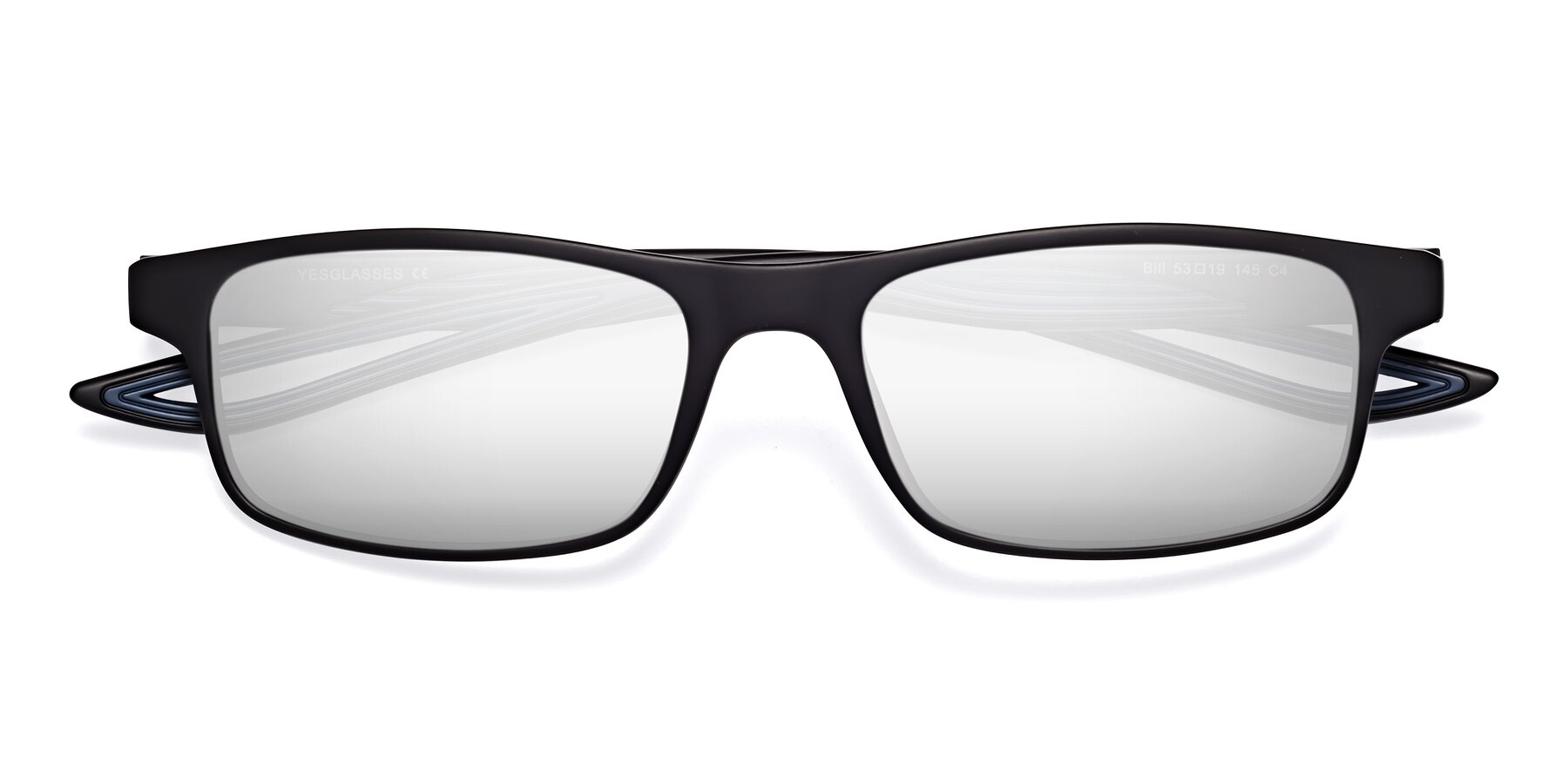 Folded Front of Bill in Matte Black-Blue with Silver Mirrored Lenses