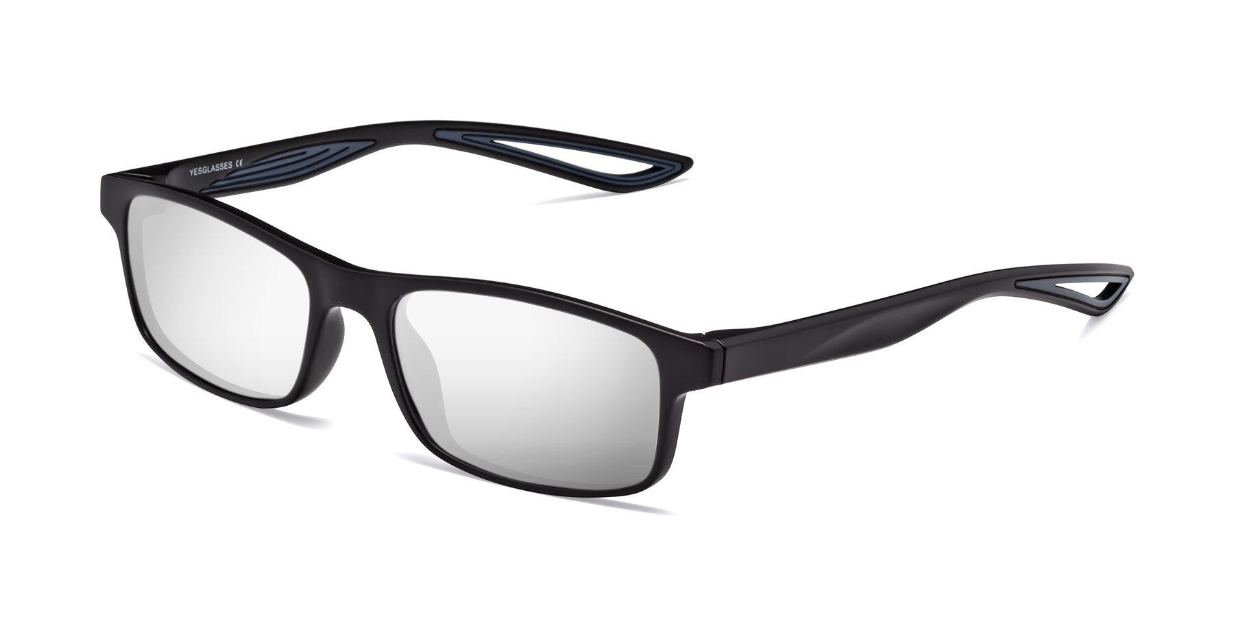 Angle of Bill in Matte Black-Blue with Silver Mirrored Lenses