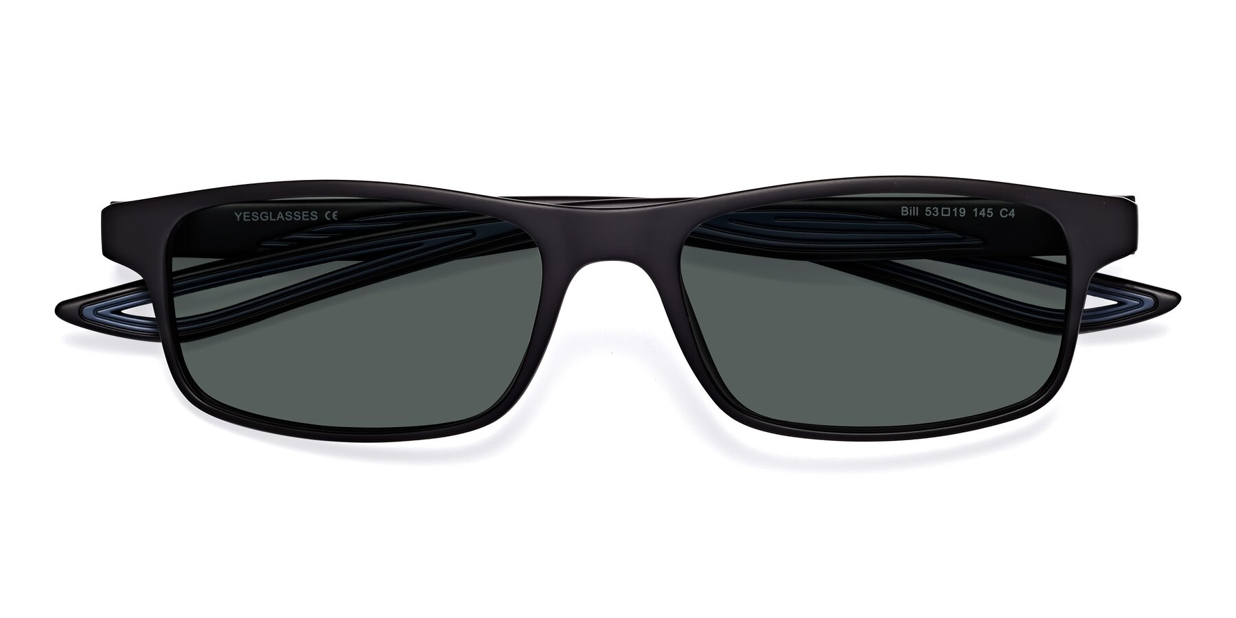 Folded Front of Bill in Matte Black-Blue with Gray Polarized Lenses