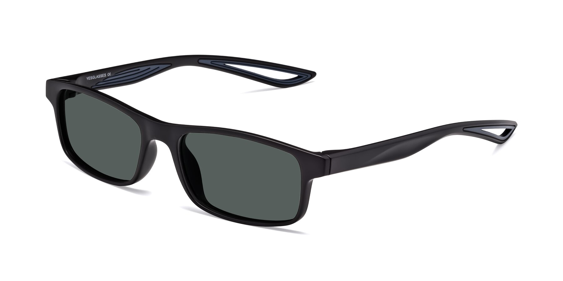 Angle of Bill in Matte Black-Blue with Gray Polarized Lenses