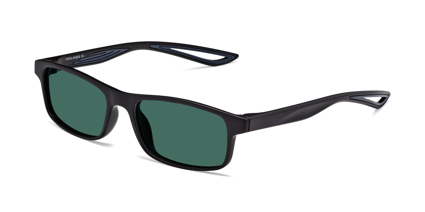 Angle of Bill in Matte Black-Blue with Green Polarized Lenses