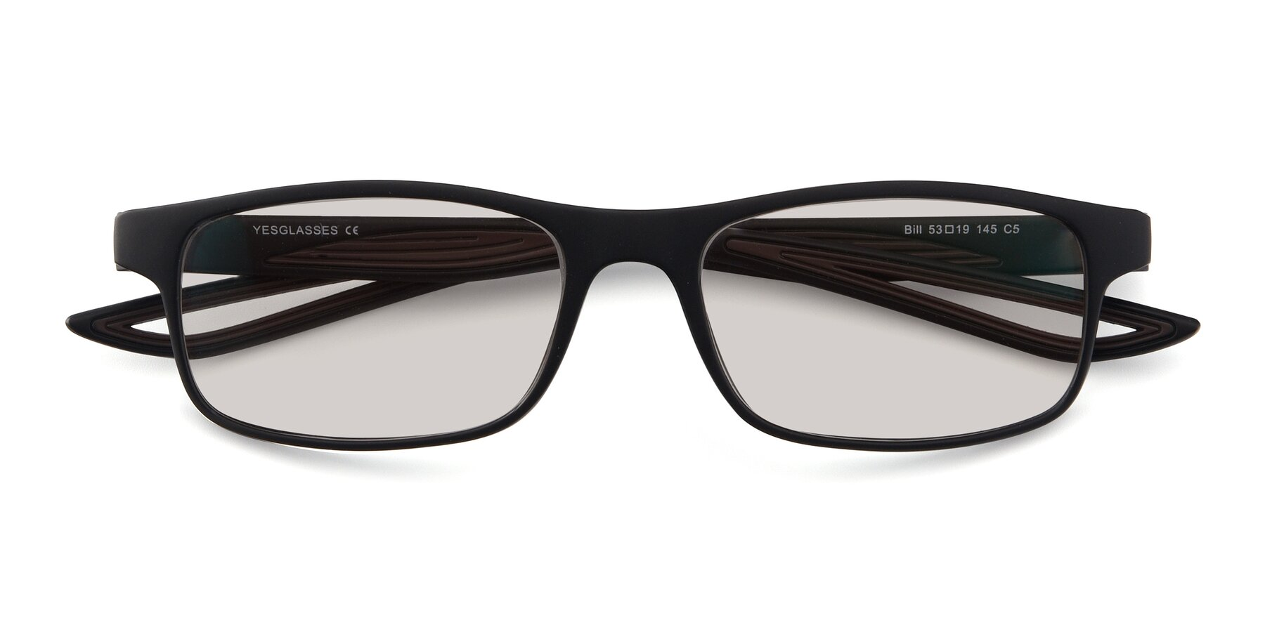 Folded Front of Bill in Matte Black-Coffee with Light Brown Tinted Lenses