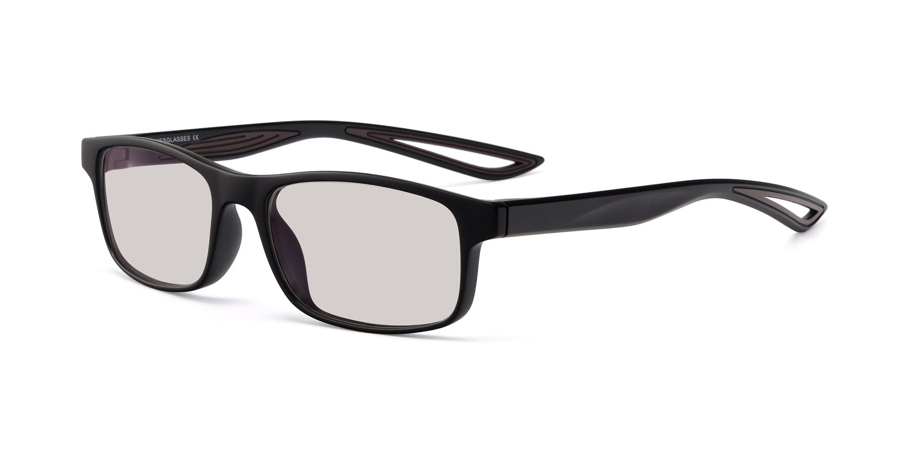 Angle of Bill in Matte Black-Coffee with Light Brown Tinted Lenses