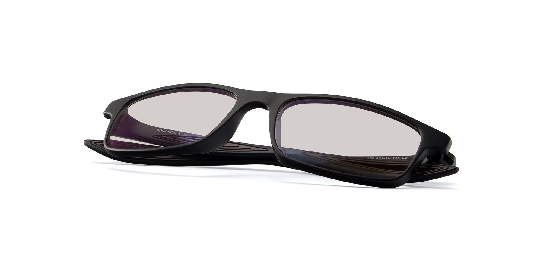 View of Bill in Matte Black-Coffee with Light Brown Tinted Lenses
