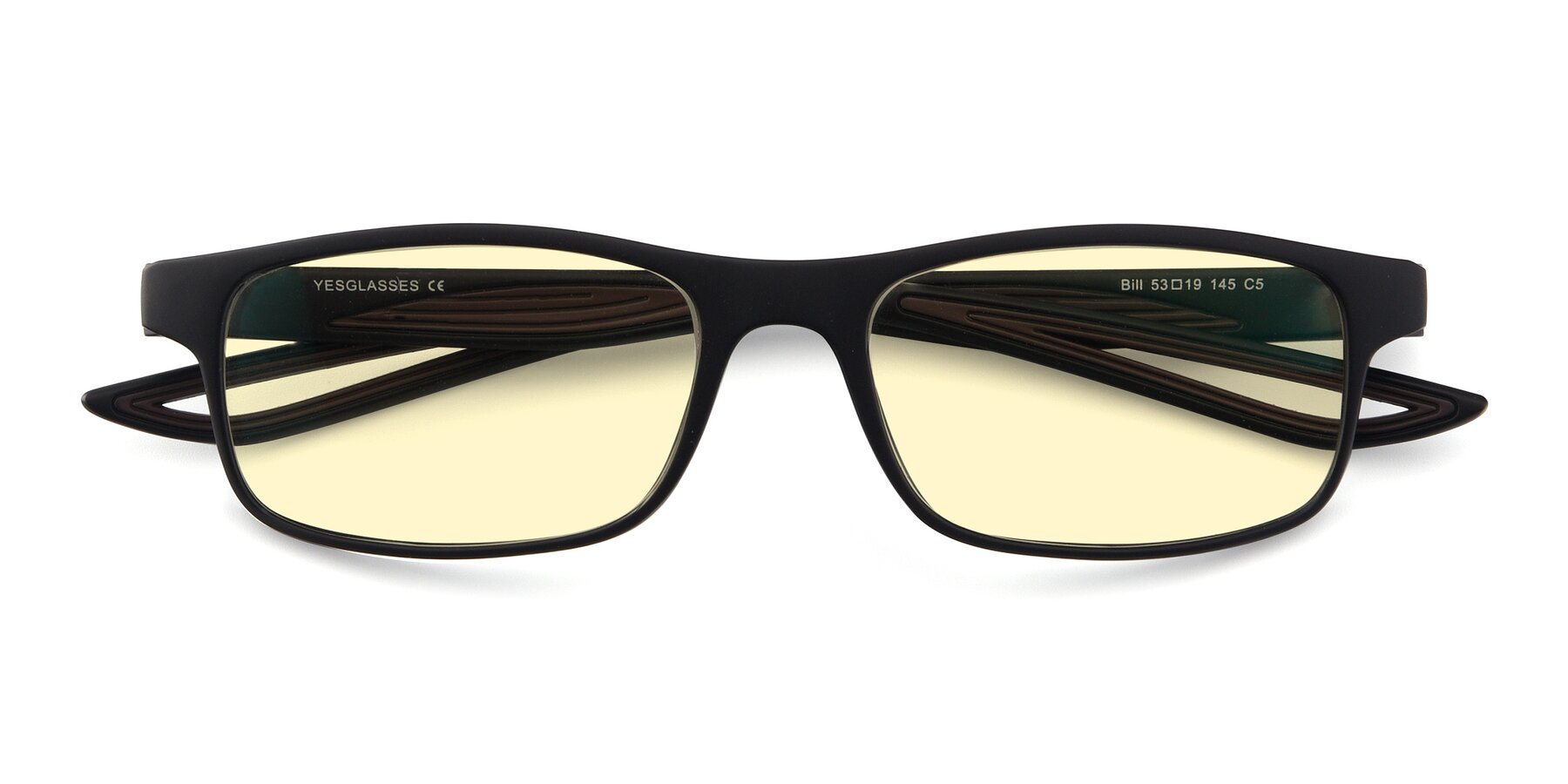 Folded Front of Bill in Matte Black-Coffee with Light Yellow Tinted Lenses
