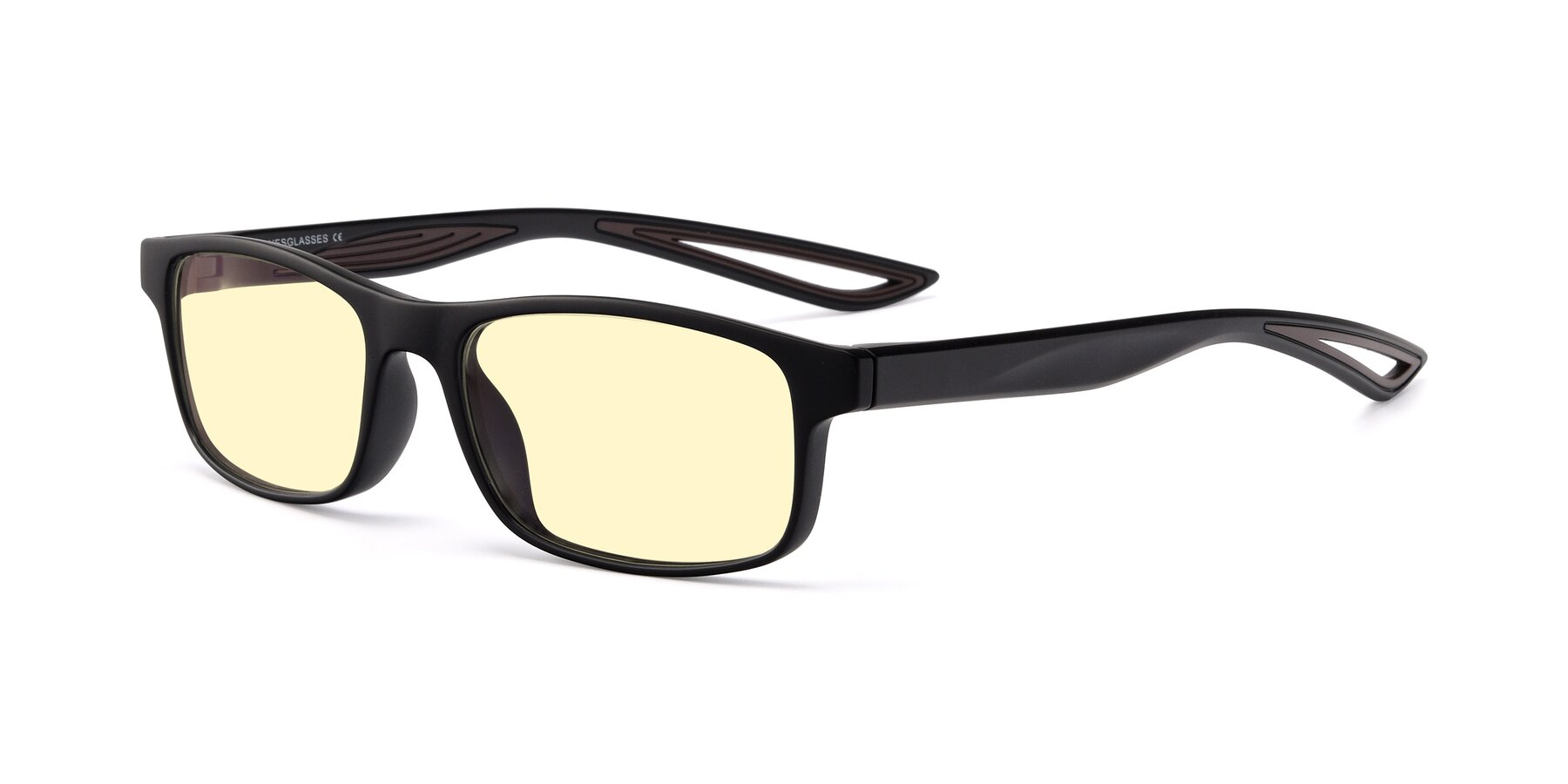 Angle of Bill in Matte Black-Coffee with Light Yellow Tinted Lenses