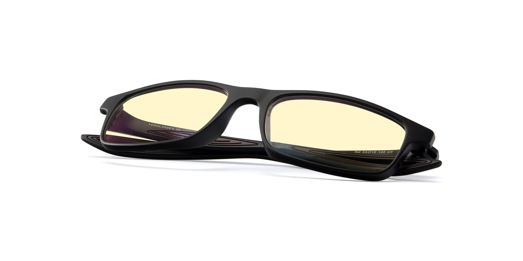 View of Bill in Matte Black-Coffee with Light Yellow Tinted Lenses