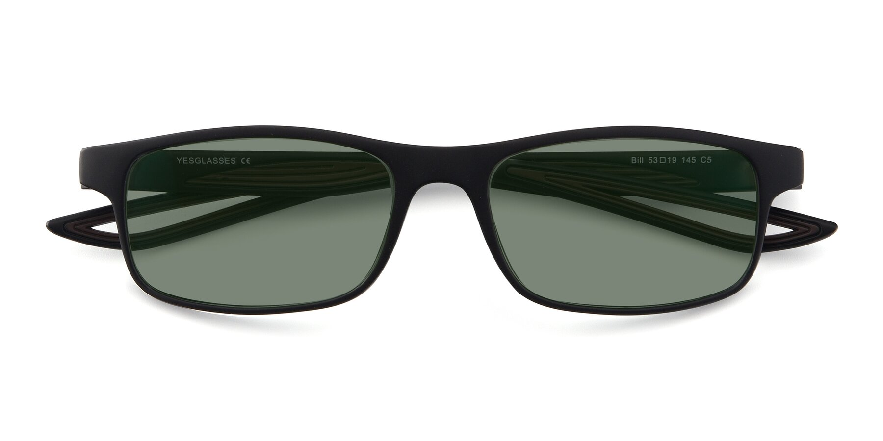 Folded Front of Bill in Matte Black-Coffee with Medium Green Tinted Lenses