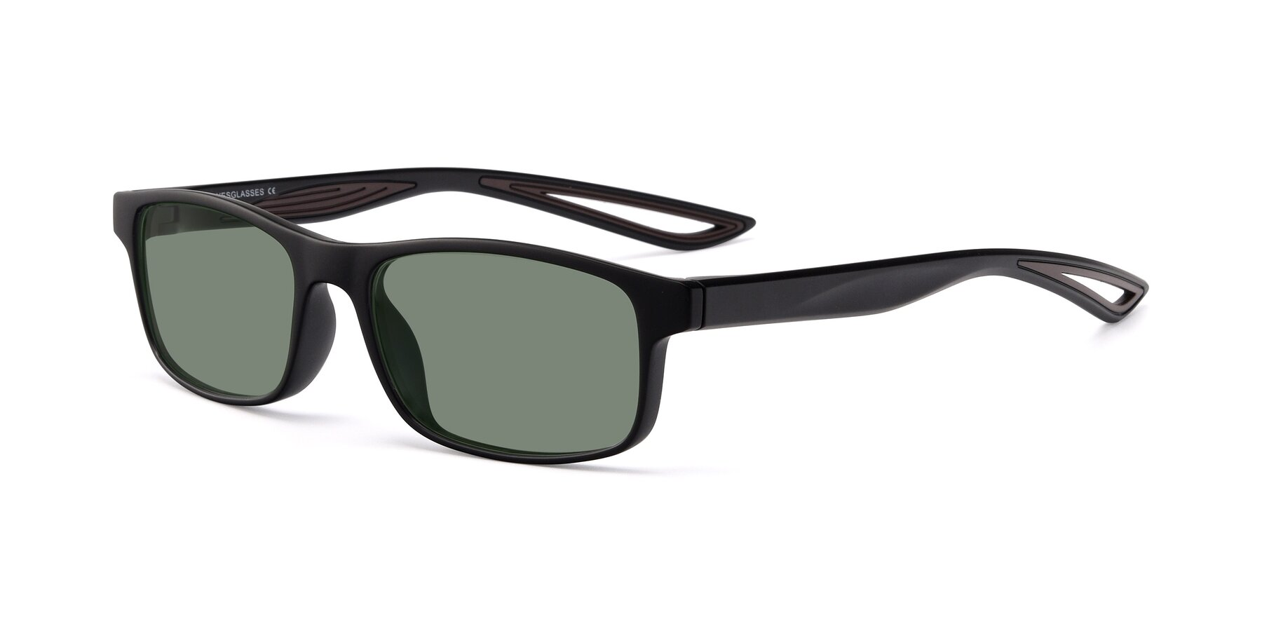Angle of Bill in Matte Black-Coffee with Medium Green Tinted Lenses