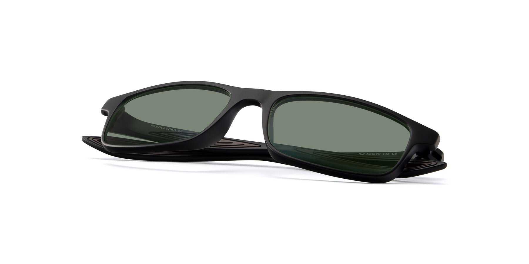 View of Bill in Matte Black-Coffee with Medium Green Tinted Lenses