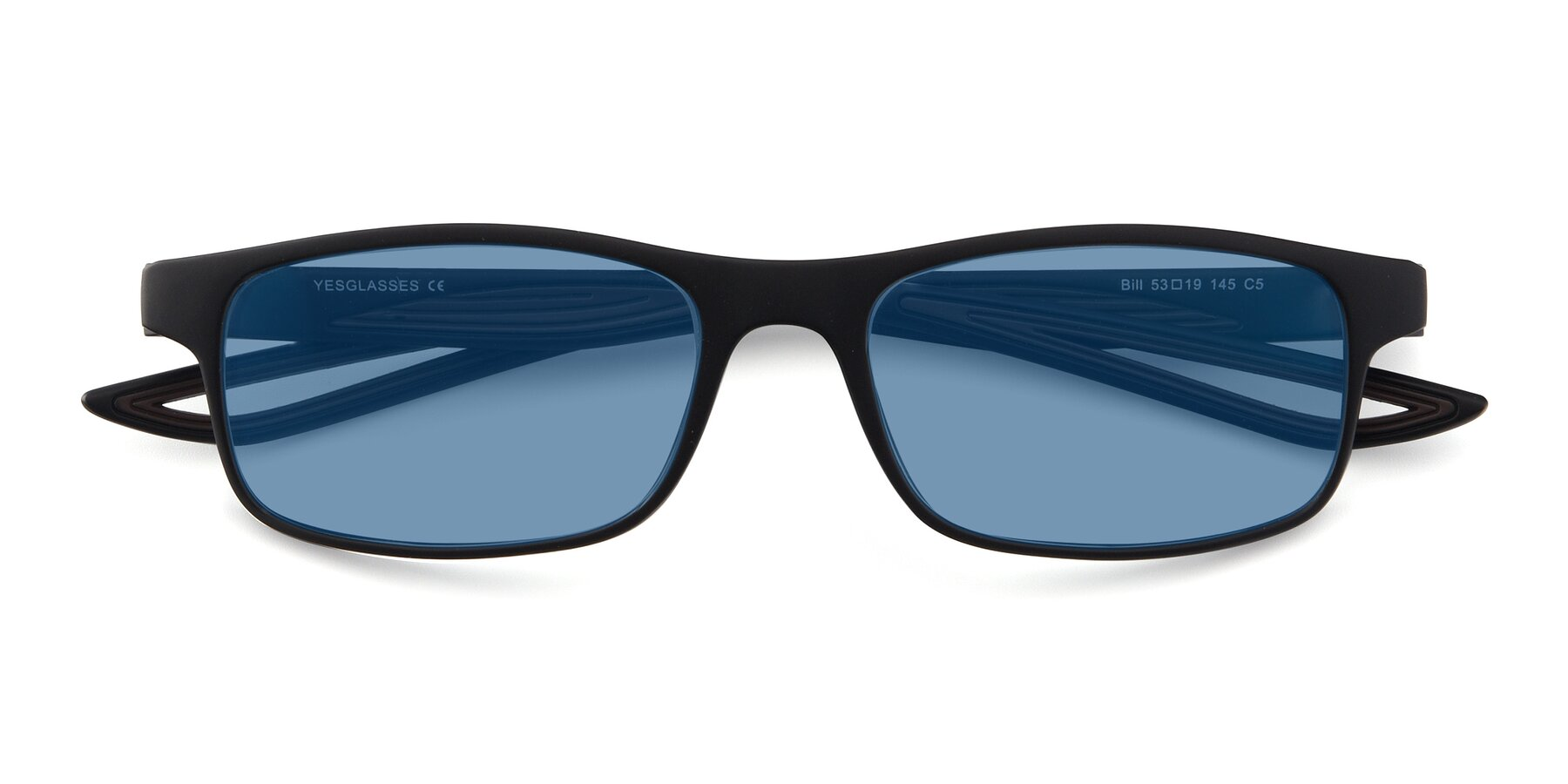 Folded Front of Bill in Matte Black-Coffee with Medium Blue Tinted Lenses