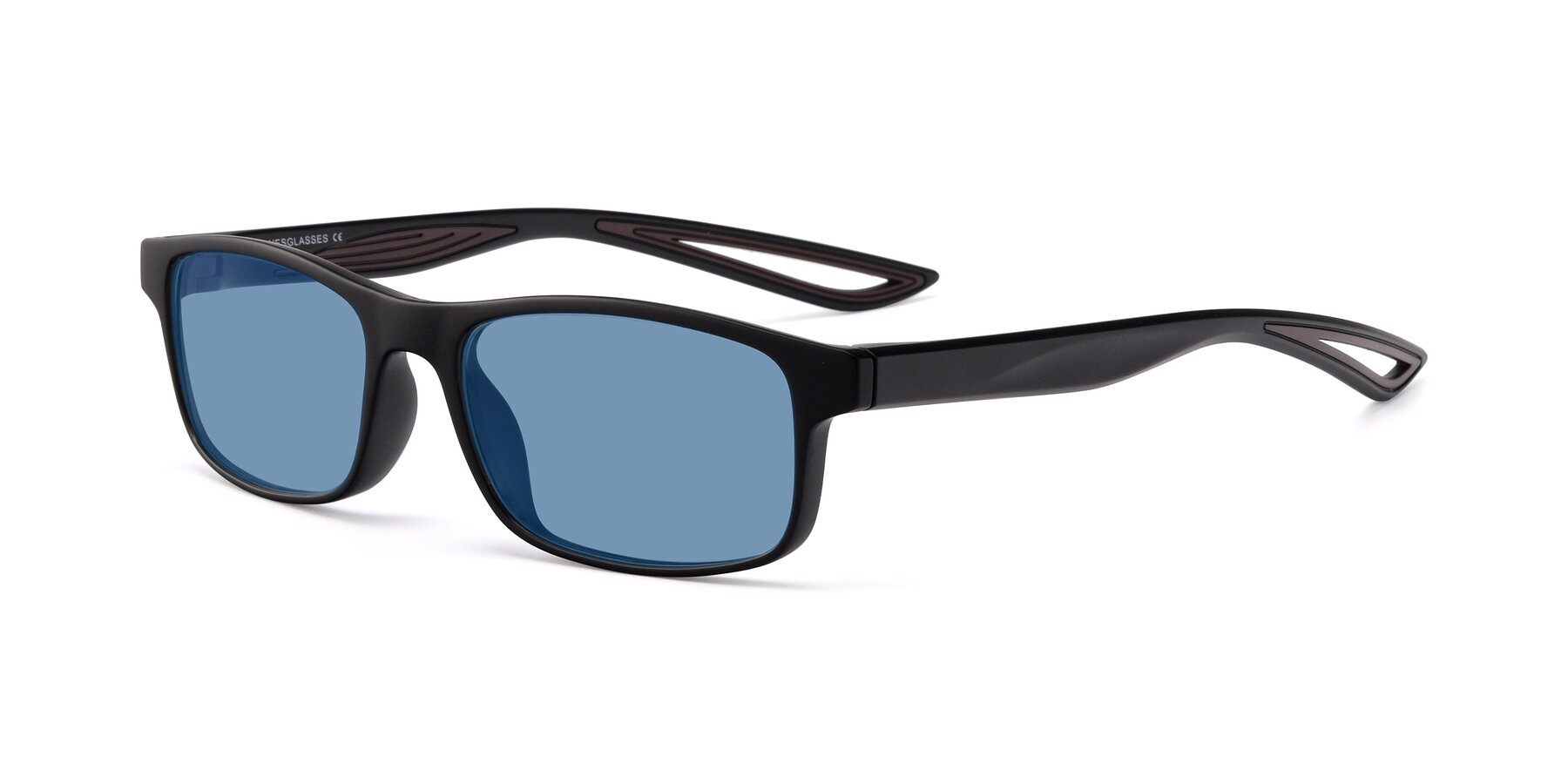 Angle of Bill in Matte Black-Coffee with Medium Blue Tinted Lenses