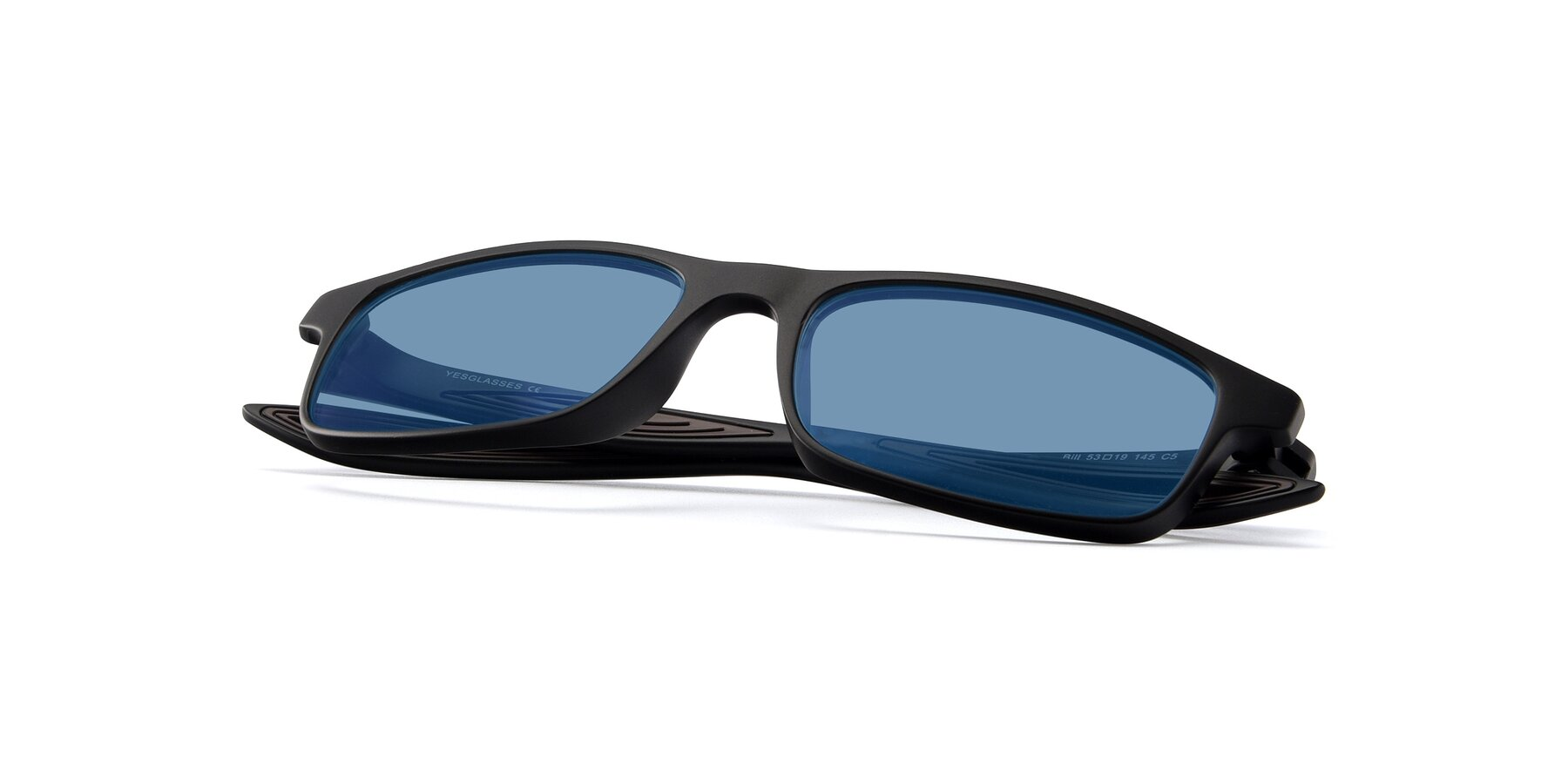 View of Bill in Matte Black-Coffee with Medium Blue Tinted Lenses