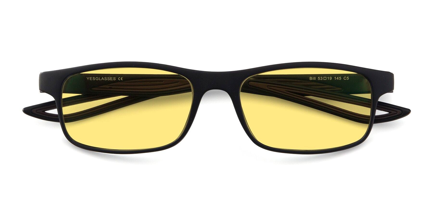 Folded Front of Bill in Matte Black-Coffee with Medium Yellow Tinted Lenses
