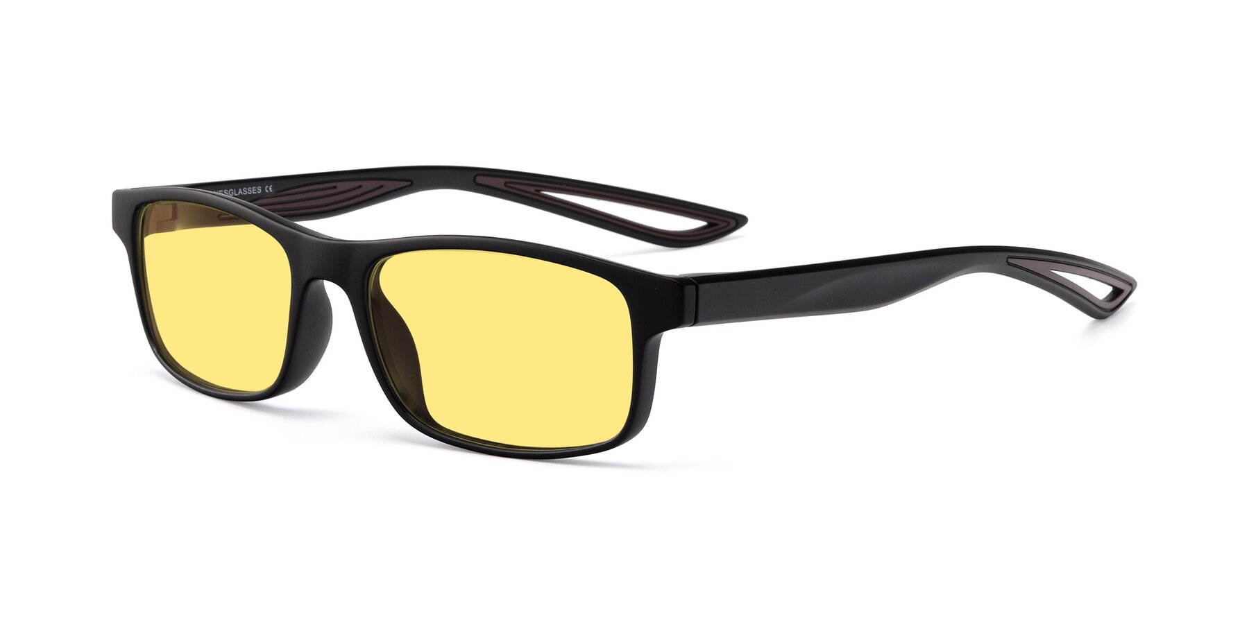 Angle of Bill in Matte Black-Coffee with Medium Yellow Tinted Lenses