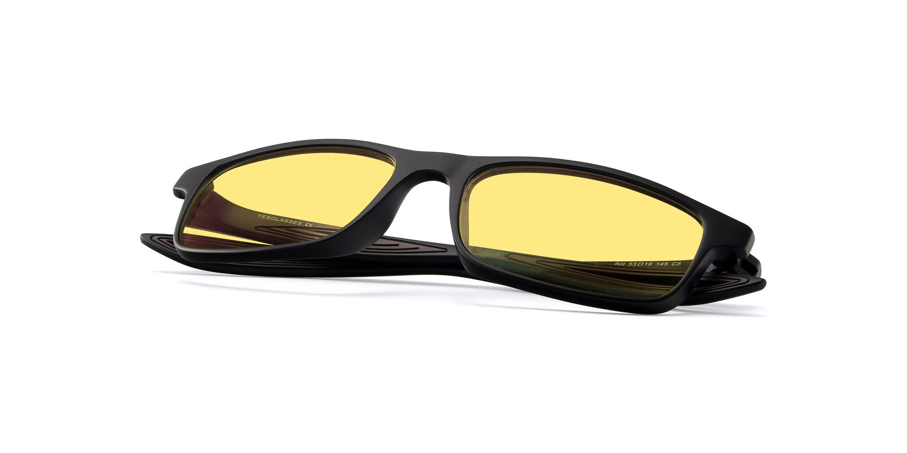 View of Bill in Matte Black-Coffee with Medium Yellow Tinted Lenses