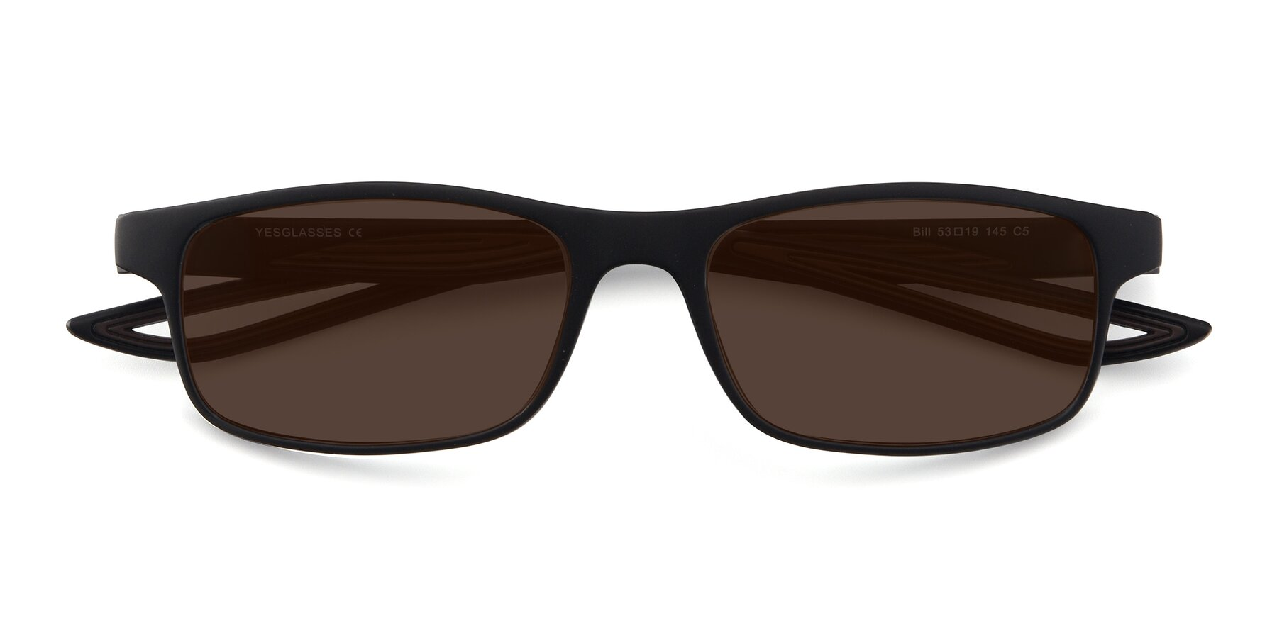 Folded Front of Bill in Matte Black-Coffee with Brown Tinted Lenses