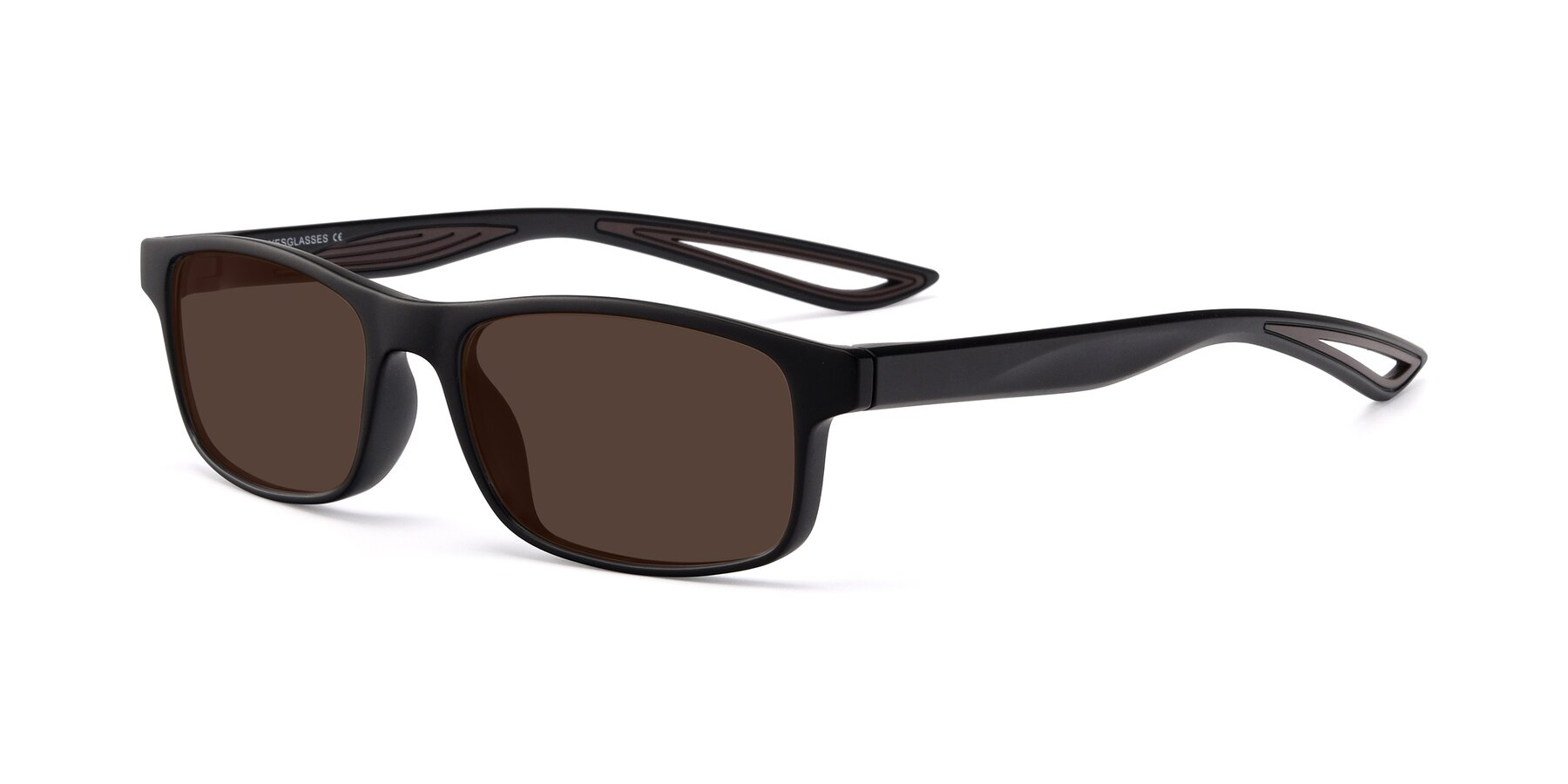 Angle of Bill in Matte Black-Coffee with Brown Tinted Lenses