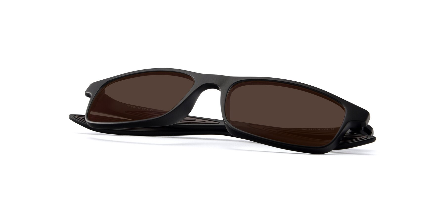 View of Bill in Matte Black-Coffee with Brown Tinted Lenses