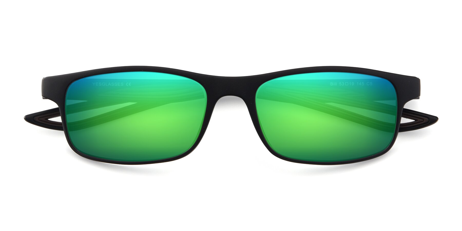 Folded Front of Bill in Matte Black-Coffee with Green Mirrored Lenses
