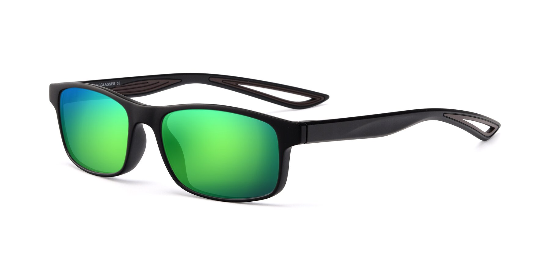 Angle of Bill in Matte Black-Coffee with Green Mirrored Lenses