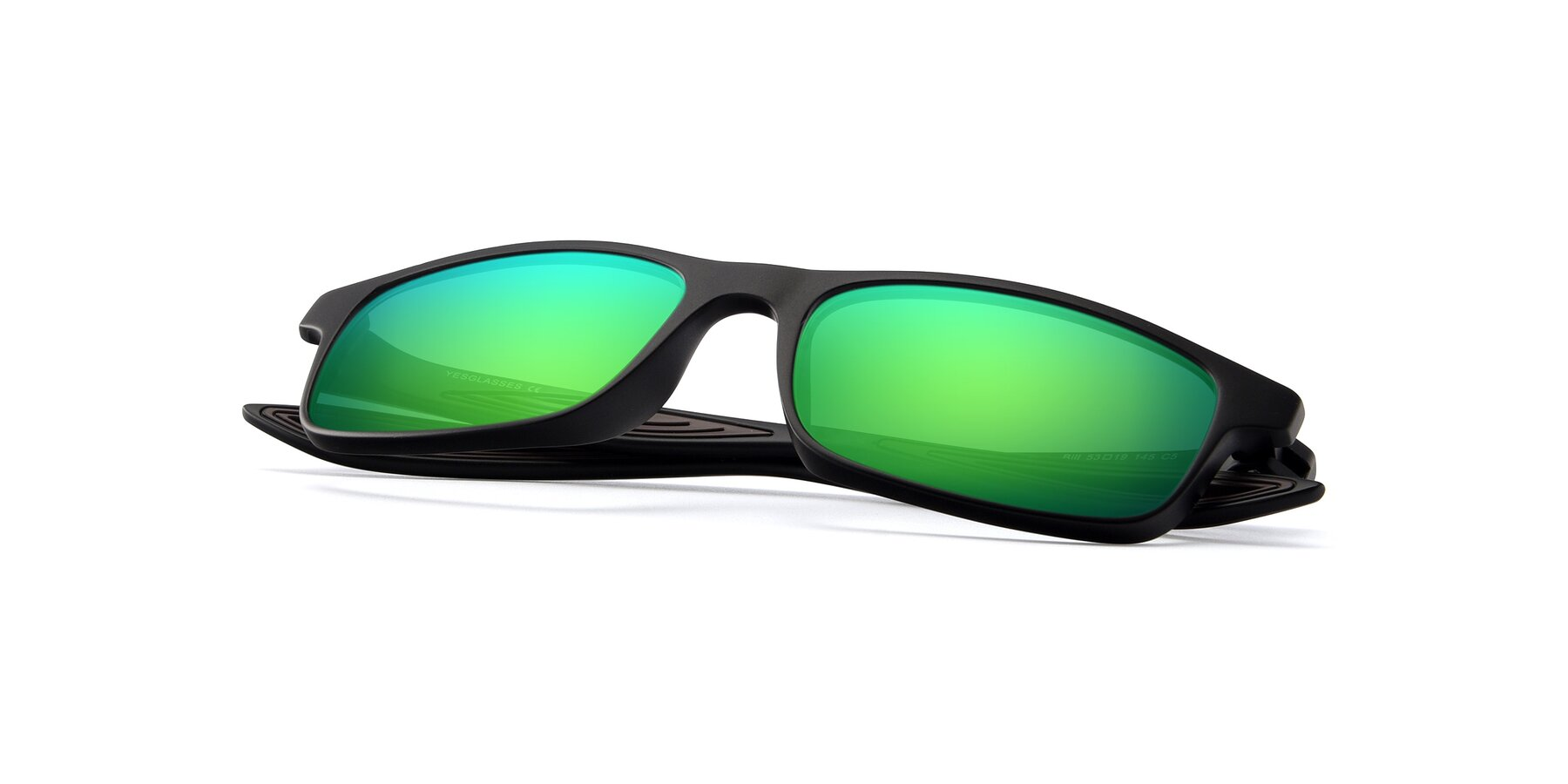 View of Bill in Matte Black-Coffee with Green Mirrored Lenses