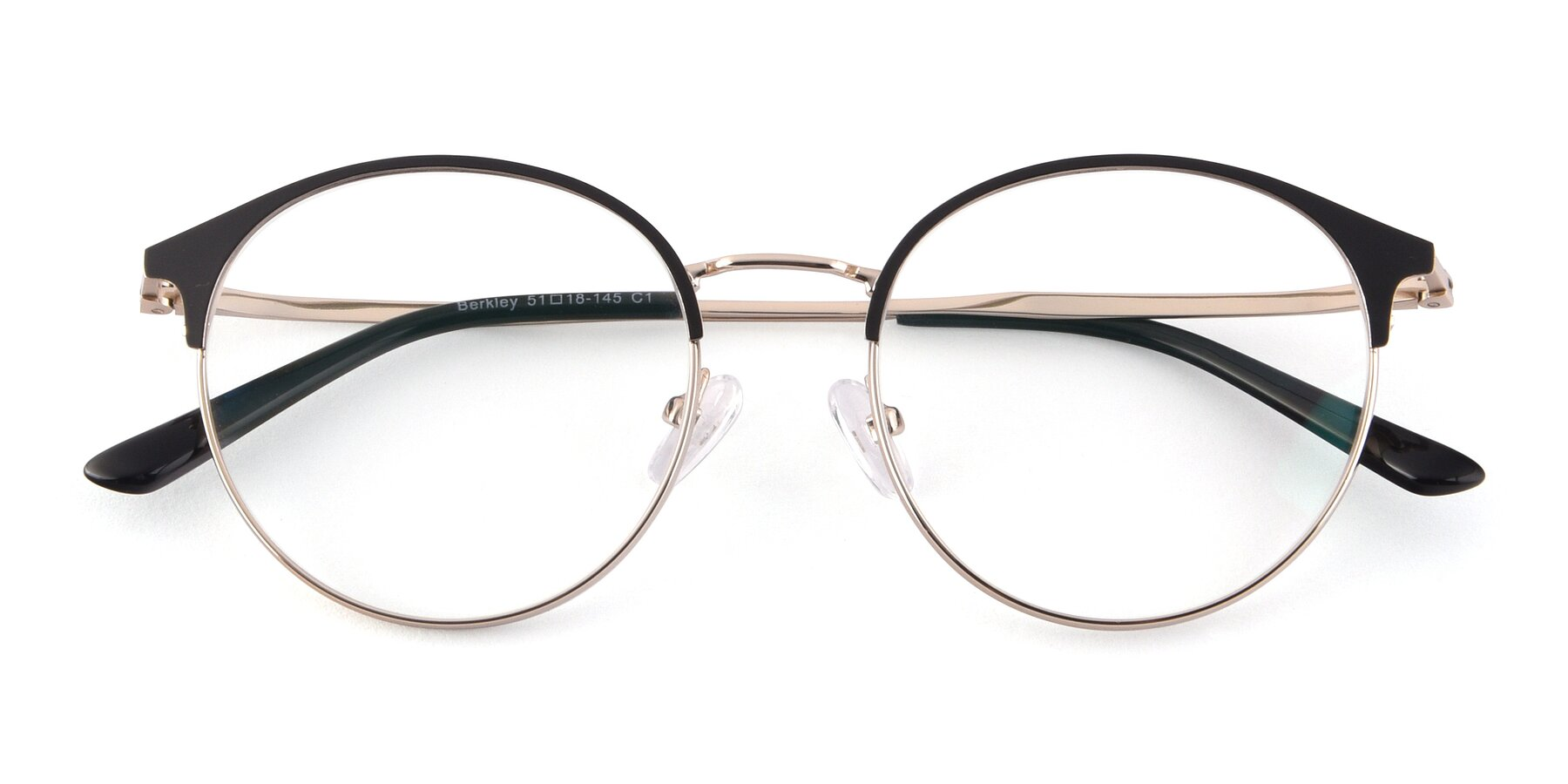 Folded Front of Berkley in Black-Gold with Clear Blue Light Blocking Lenses