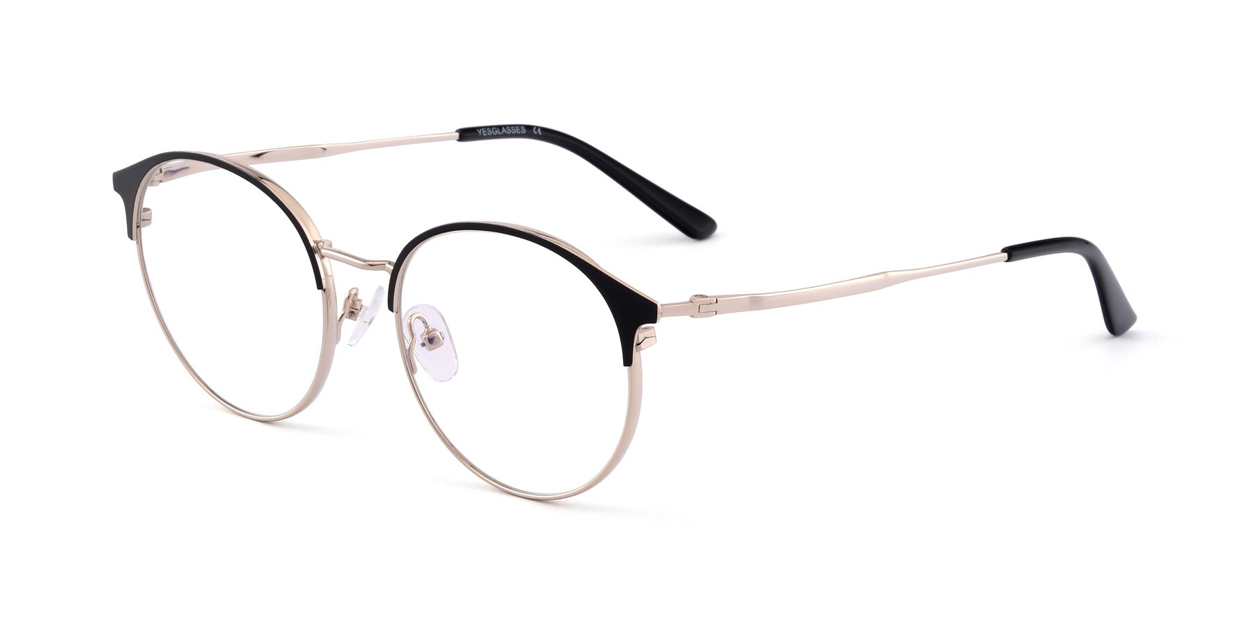 Angle of Berkley in Black-Gold with Clear Blue Light Blocking Lenses