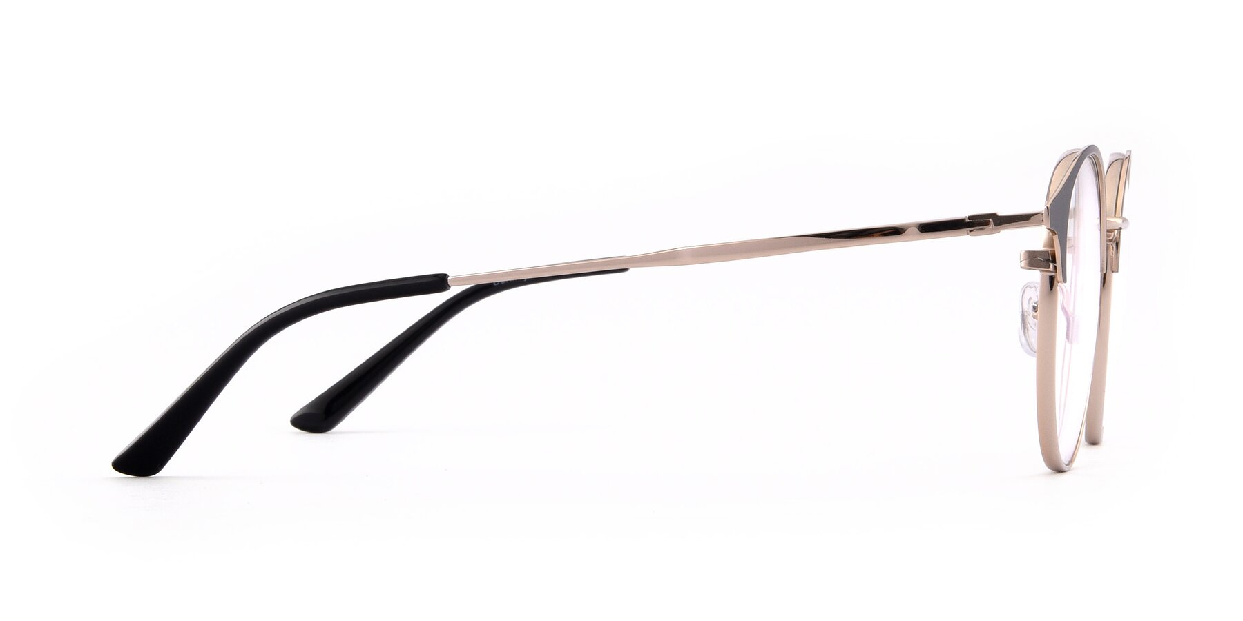 Side of Berkley in Black-Gold with Clear Blue Light Blocking Lenses