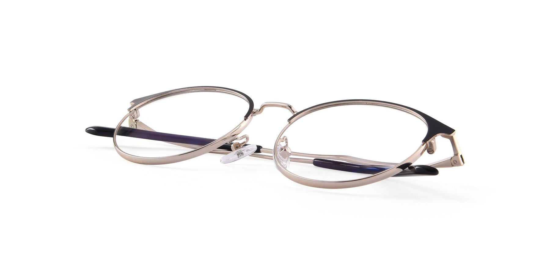 View of Berkley in Black-Gold with Clear Blue Light Blocking Lenses