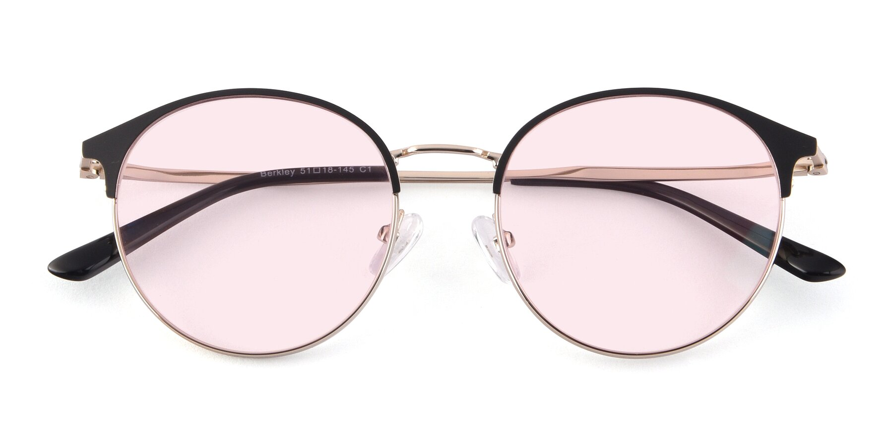 Folded Front of Berkley in Black-Gold with Light Pink Tinted Lenses