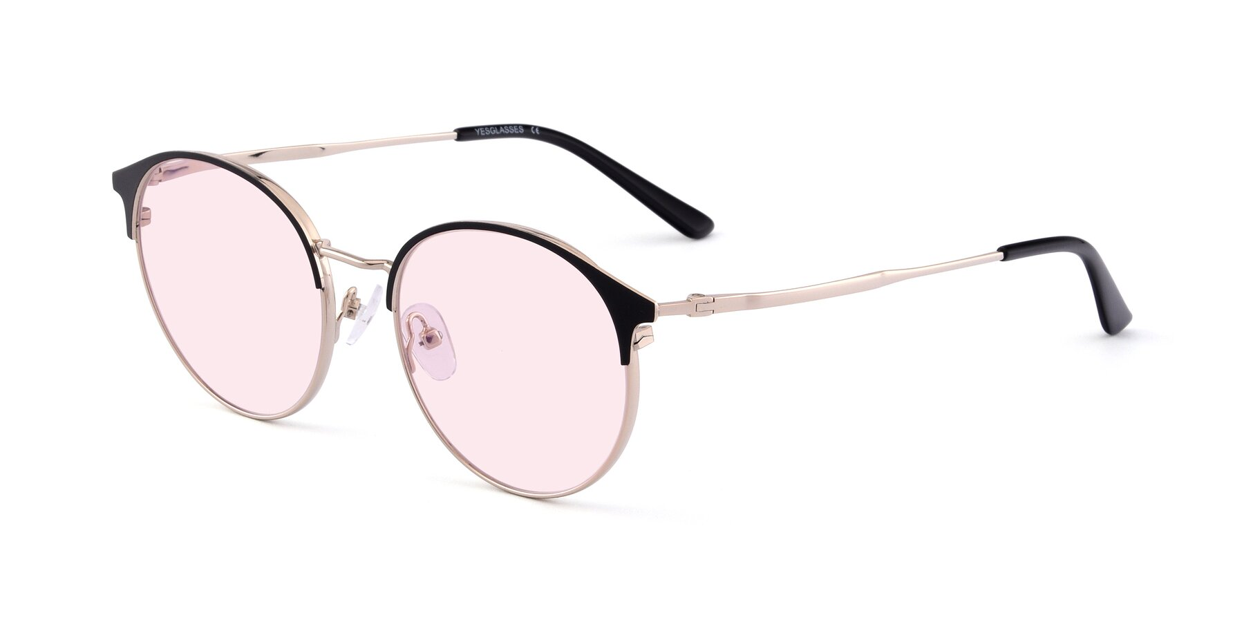 Angle of Berkley in Black-Gold with Light Pink Tinted Lenses